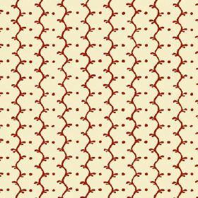 Casella Reverse (Cotton) - 17 - Fabric made from cream coloured cotton with a red-brown pattern of wavy lines and dots
