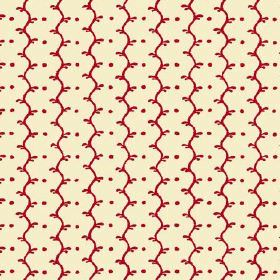 Casella Reverse (Linen Union) - 18 - Fabric in cream linen with deep cherry red coloured wavy lines and dots arranged into rows