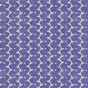 Casella Texture (Linen Union) - 1 - White wavy lines and dots printed on a slightly mottled bright purple-blue linen fabric