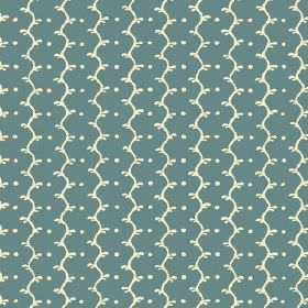 Casella (Cotton) - 4 - A pattern of wavy lines and dots, both in cream, on a dusky blue cotton fabric background