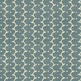 Casella Texture (Linen Union) - 2 - Linen fabric in a dusky shade of blue, with stripes and dots in cream
