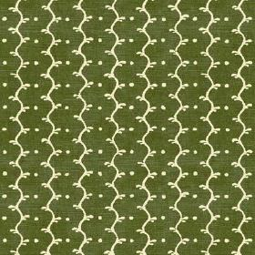 Casella Texture (Linen Union) - 3 - A very slightly mottled forest green coloured linen fabric, printed with vertical cream wavy lines and d