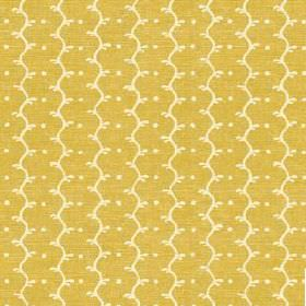 Casella Texture (Cotton) - 4 - Mottled mustard yellow cotton fabric printed with cream coloured wavy lines and dots