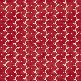 Casella Texture (Cotton) - 5 - Bright red fabric made from cotton with a slightly mottled finish and a pattern of white wavy stripes and dot