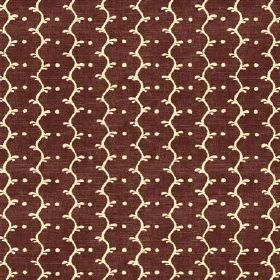 Casella Texture (Linen Union) - 6 - Chocolate brown coloured linen fabric covered with a pattern of cream coloured wavy lines and dots which