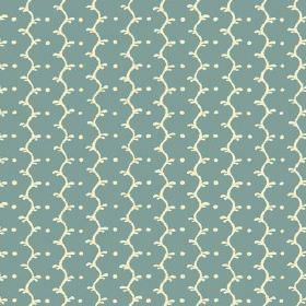 Casella (Cotton) - 5 - Dark duck egg blue cotton fabric printed with a pattern of cream coloured wavy lines and dots