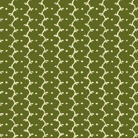 Casella (Cotton) - 6 - Small cream dots and cream wavy lines printed on forest green coloured cotton fabric