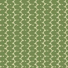 Casella (Linen Union) - 7 - A pattern of cream coloured wavy lines and dots printed on pastel green linen fabric