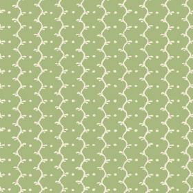 Casella (Cotton) - 8 - Cotton fabric in light apple green with off-white wavy lines and dots printed on top