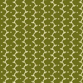Casella (Cotton) - 9 - An off-white pattern of wavy lines and dots against an Army green cotton fabric background