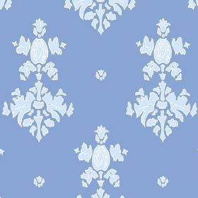 Sintra (Cotton) - 2 - Cobalt blue coloured cotton fabric with an ice blue coloured repeated pattern
