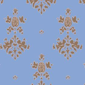 Sintra (Cotton) - 3 - Cotton fabric in cobalt blue with a simple brown pattern repeatedly printed on it