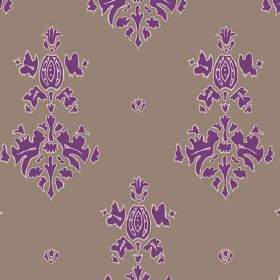 Sintra (Cotton) - 4 - A bright purple design printed on plain chocolate coloured cotton