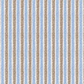 Guincho (Linen Union) - 3 - Patterned brown-grey and sky blue stripes printed on white linen fabric