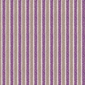 Guincho (Linen Union) - 4 - Fabric made from white linen, with patterned stripes of bright purple and brown-grey