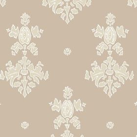 Sintra (Cotton) - 1 - Large, simple cream design printed on a caramel coloured cotton fabric background