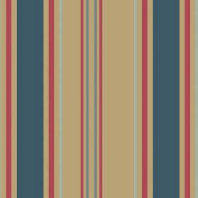 Aviary Stripe (Cotton) - 2 - Cotton fabric striped with dusky blue, light blue-grey, red and straw colours