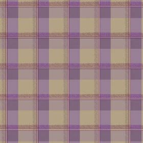 Nouvelles Check (Cotton) - 5 - Beige cotton fabric with wide checks in a bright shade of purple