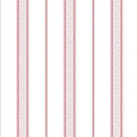 Nouvelles Stripe (Cotton) - 2 - Narrow red-pink stripes with speckled bands in the same colour, printed on white cotton fabric