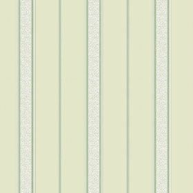 Nouvelles Stripe (Linen Union) - 4 - White speckled strips between narrow lines of green, printed on light green fabric made from linen