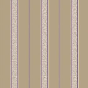 Nouvelles Stripe (Cotton) - 5 - Light beige and purple stripes printed on a brown cotton fabric background