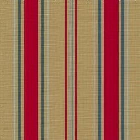 Aviary Stripe (Cotton) - 3 - Straw coloured stripes with bands of dark turquoise and bright red on cotton fabric