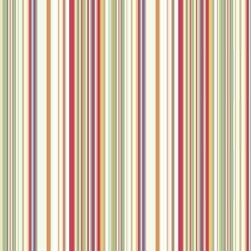 Simla Stripe (Cotton) - 1 - Multicoloured striped cotton fabric including green, red, cream, purple and more