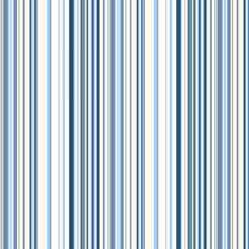 Simla Stripe (Linen Union) - 2 - Blue stripes of different shades and widths printed on white linen fabric