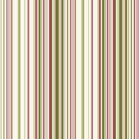 Simla Stripe (Cotton) - 3 - Narrow stripes of green and dark pink printed on cream coloured cotton fabric
