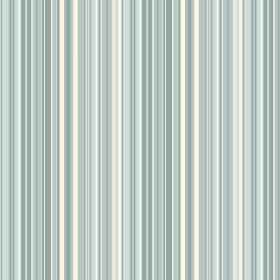 Florece Stripe (Linen Union) - 2 - White linen fabric covered in narrow stripes in shades of blue and pale teal green