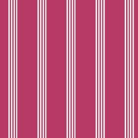 Tretower (Cotton) - 4 - A white stripe pattern printed on raspberry coloured cotton fabric