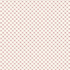 Toile Lattice (Linen Union) - 1 - Linen fabric with a pattern of a dark pink grid and small crosses upon a white background