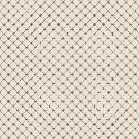 Toile Lattice (Linen Union) - 2 - Cream linen fabric covered with tiny brown crosses and a matching grid of thin lines