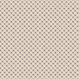 Toile Lattice (Cotton) - 3 - Light beige coloured cotton fabric with thin brown lines making up a simple checked pattern, with small brown c