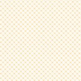 Toile Lattice (Linen Union) - 4 - A grid pattern in yellow-gold, with tiny crosses at each intersection, printed on a white linen fabric bac