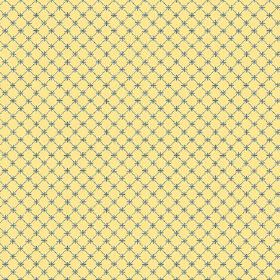 Toile Lattice (Linen Union) - 5 - A mesh of dark blue with matching crosses printed on linen fabric in a bright citrus yellow-green colour