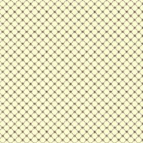 Toile Lattice (Cotton) - 6 - Dark green grid with tiny crosses at each point where the lines intercept, printed on cream coloured cotton fab