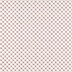 Toile Lattice (Linen Union) - 7 - A grid of simple dark magenta checks with tiny crosses against a white linen fabric background