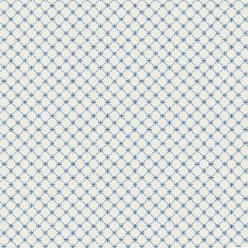 Toile Lattice (Linen Union) - 8 - Linen fabric in pale blue-grey, with a check style grid and tiny crosses in a bright blue shade