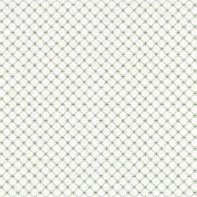 Toile Lattice (Linen Union) - 9 - Fabric made from white linen printed with a grid of thin green lines and tiny green crosses