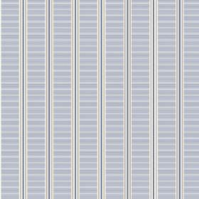 Spa Stripe (Linen Union) - 1 - Pale blue-grey coloured striped bands with vertical blue and silver lines printed on white linen fabric