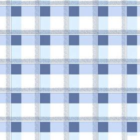 Nouvelles Check (Cotton) - 1 - Cotton fabric featuring an unusual check design in shades of blue, which also looks like repeated squares