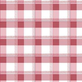 Nouvelles Check (Cotton) - 2 - Two different dusky red check prints overlaid to look like repeated squares on a white cotton fabric backgrou