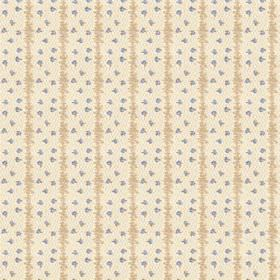 Ballet (Linen Union) - 2 - Linen fabric featuring a design of rough beige stripes and blue sprinkles upon a cream coloured background