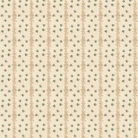 Ballet (Linen Union) - 3 - Beige vertical stripes and green dots printed on a cream linen fabric background