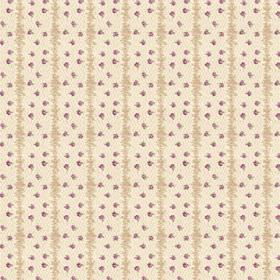 Ballet (Cotton) - 4 - Fabric made from cream and beige striped cotton, patterned with random purple dots