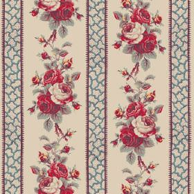 Wallgarden (Cotton) - 1 - Cotton fabric featuring a striped, patterned and floral design in shades of cream, blue, red and green