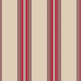 Wallgarden Stripe (Linen Union) - 1 - Striped linen fabric in cream, purple-brown, red, off-white and teal
