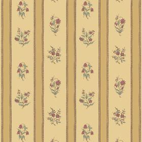 Opio Line (Cotton) - 1 - Gold coloured cotton fabric with wide pale yellow stripes featuring bouquets of small red flowers