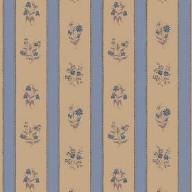 Opio Line (Cotton) - 4 - Bouquets of small blue flowers printed on the brown sections of a brown and blue striped cotton fabric